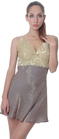 Women's Jacquard Chemise with Lace #4045