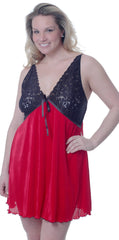 Women's Plus Size Crystal Pleat Chemise with Lace #4066X (1x/2x-7x/8x)