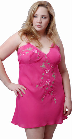 Women's Plus Size Georgette Chemise with Embroideries #4069 (1x-3x)