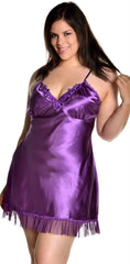 Women's Plus Size Silky Chemise with Lace #4075X (1X-6X)