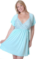 Women's Plus Size Microfibre Chemise with Lace #4082X (1x-6x)
