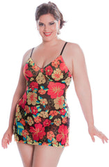 Women's Plus Size Printed Mesh Chemise #4095 (1x-3x)