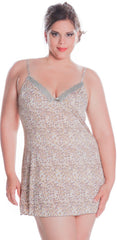 Women's Plus Size Print Microfibre Chemise with Lace #4101X (1x-6x)