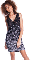 Women's Border Print Knitted Lace Built Up Chemise #4124/X/XX/XXX