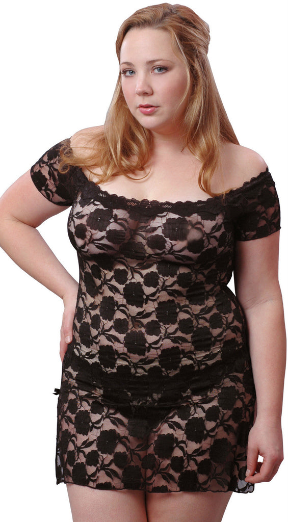 Womens Super Plus Size Stretch Lace Babydollmini Dress With Thong