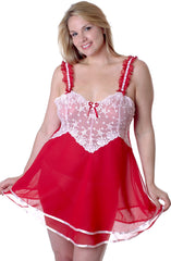 Women's Plus Size Chiffon Babydoll with G-string #5155x (1x-3x)