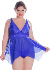 Women's Plus Size Chiffon Babydoll with G-string #5213/x (1x-6x)