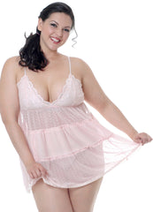 Women's Plus Size Dotted Mesh Babydoll with G-String #5218x