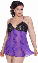 Women's Plus Size Chiffon Babydoll with G-String #5230x (1x-3x)