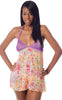 Women's Printed Chiffon Babydoll with G-String #5235