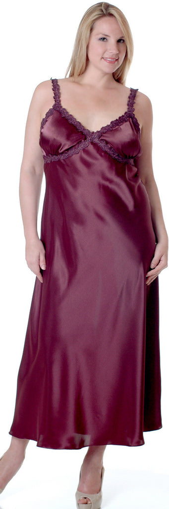 Women's Super Plus Size Silky Nightgown With Venice Lace #6010XX ...