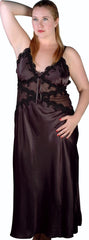 Women's Plus Size Silky Nightgown With Venice Lace #6026X