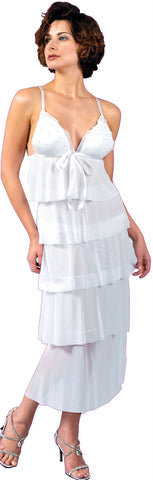 Women's Bridal Mesh Molded Cups Tiered Nightgown With Thong Set #6039