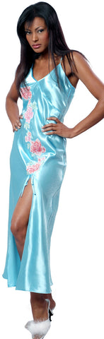 Women's Plain Silky Nightgown and Printed Long Robe Set #60403047/X