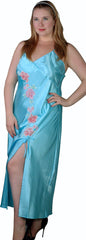 Women's Plus Size Silky Nightgown With Embroidered Flower Motifs #6040X