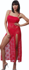 Women's Plus Size Sexy Lace High Slits Nightgown With G-String #6050X