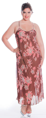 Women's Plus Size Printed Chiffon Nightgown or Swim Cover-Up With G-String Set #6060X