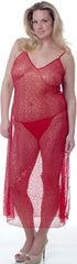 Women's Plus Size Sequined Mesh Nightgown With G-string Set #6061X