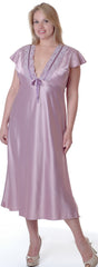 Women's Plus Size Matte Satin Nightgown With Lace #6063X