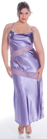 Women's Plus Size Silky Nightgown With Lace #6066X