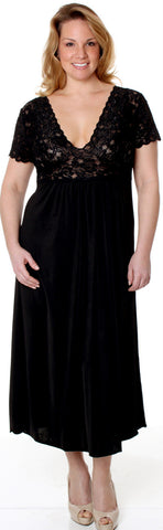 Women's Super Plus Size Microfiber Nightgown With Lace #6067XX