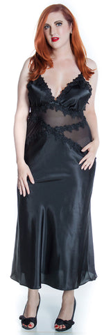 Women's Super Plus Size Silky Nightgown With Venice Lace #6074XX
