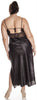 Women's Plus Size Silky Nigthgown With Eyelash Lace #6077X