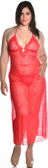 Women's Plus Size Jacquard Mesh Nightgown With G-String #6079X