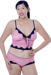 Women's Plus Size Heart Mesh Camisole Short Set #7042x