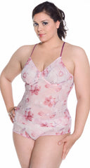 Women's Plus Size Printed Mesh Camisole Boy Short Set #7075x