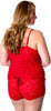 Women's Plus Size Ruffled Camisole Boy Short Set #7095x