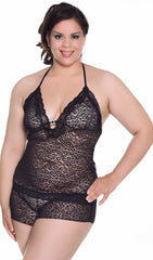 Women's Plus Size Stretch Lace Camisole Boy Short Set #7096x