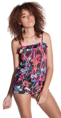 Women's Floral Printed Mesh Camisole Short Set #7106