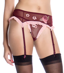 Women's Mesh Garter Belt With Flower Motifs #8181