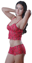 Women's Embroidered Lace Camisole Short Set #SM154BS