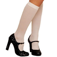 Shirley of Hollywood Opaque Knee High Stockings 90047, White, OS