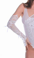Women's Bridal Long Fingerless Gloves # B314D