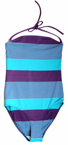 Huit Strapless One Piece Swimsuit 108, Blueberry Stripes, M