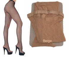 Music Legs Classic Seamless Fishnet Pantyhose 9001, Beige, OS
