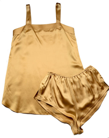 Women's Silk Charmeuse Camisole Tap Pant Set #SM103, Gold, SIze XL