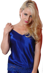 Shirley McCoy Silk Charmeuse Camisole SM156B, Royal, Size M