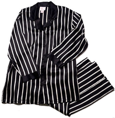 Shirley McCoy Silk Charmeuse Classic Long Pajama Pant Set SM208BT, Black Stripes, Size M