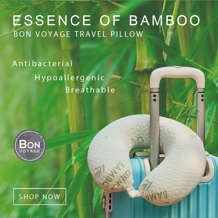 Bon Voyage bamboo travel pillow for mobile