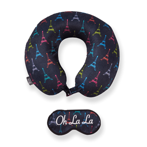 Eye Mask Memory Foam Travel Neck Pillow - OH LA LA