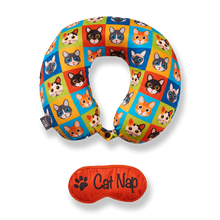 Load image into Gallery viewer, Eye Mask Memory Foam Travel Neck Pillow - Cat Nap