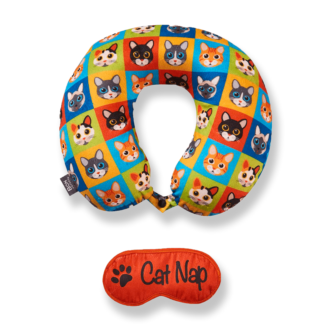 Eye Mask Memory Foam Travel Neck Pillow - Cat Nap