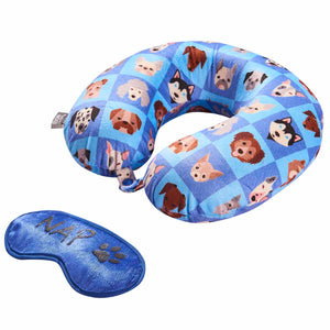 Eye Mask Travel Pillow - Dog Nap, Printed Memory Foam U-Shape Neck Pillow Dreamin