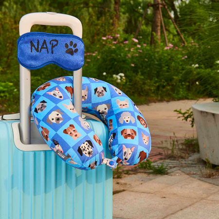 Eye Mask Memory Foam Travel Neck Pillow - Dog Nap