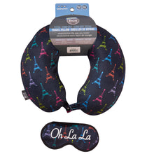 Load image into Gallery viewer, Eye Mask Travel Pillow - OH LA LA, Printed Memory Foam U-Shape Neck Pillow