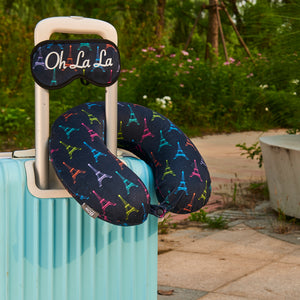 Eye Mask Travel Pillow - OH LA LA, Printed Memory Foam U-Shape Neck Pillow